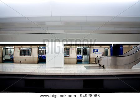 New York, June 29, 2015 -  NY-NJ Path Train at Wold Trade Center station