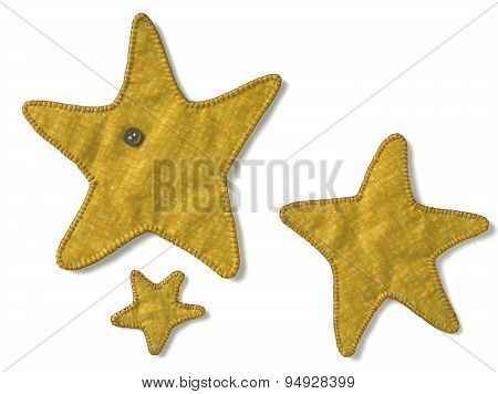 embroidery yellow stars