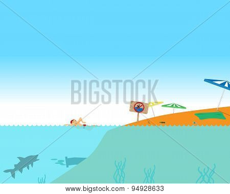 Man swims at the beach during the day forbidden. Vector illustration