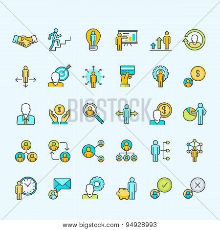 Set of thin line color people icons for business and finance