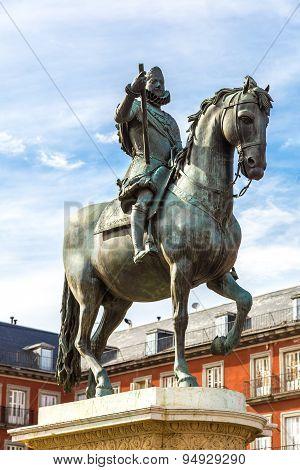 Statue Of Philip Iii At Mayor Plaza In Madrid