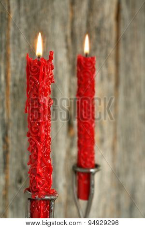 Lit red candles