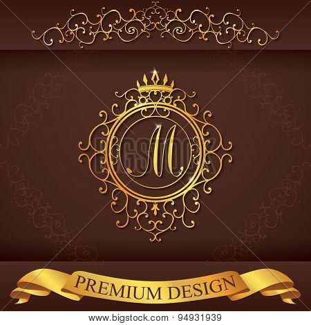 Letter M. Luxury Logo Template Flourishes Calligraphic Elegant Ornament Lines. Business Sign, Identi