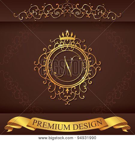 Letter N. Luxury Logo Template Flourishes Calligraphic Elegant Ornament Lines. Business Sign, Identi