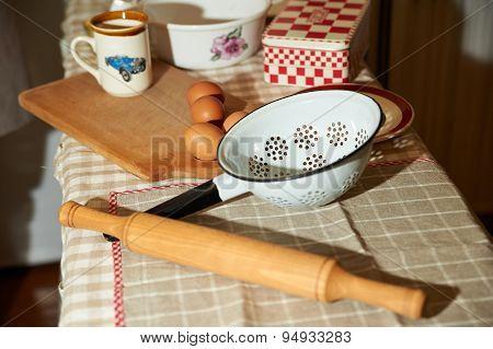 Baking Cake In Rural Kitchen Dough