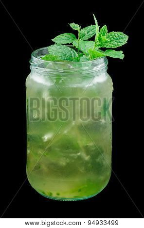 Mint Julep Drink isolated on black background
