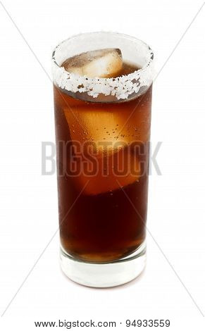 Batanga drink rimmed with salt isolated on white