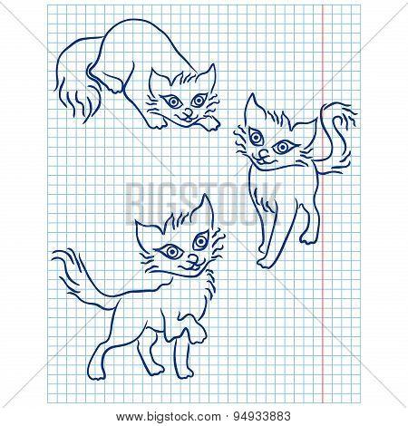 Cute Three Cats On A Checkered Sheet