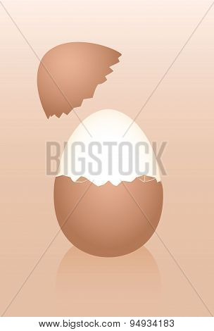 Hard Boiled Breakfast Egg Shell Brown Half Peeled