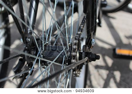 Bicycle wheel with details, close-up