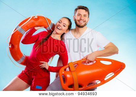 Lifeguards On Duty With Equipment
