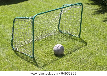 Football Gate On Green Grassy Palyground. Soccer Goal