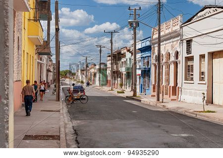 Cienfuegos, Cuba - February 5, 2008. One Of Streets In The Center Of Colonial Town Of Cienfuegos