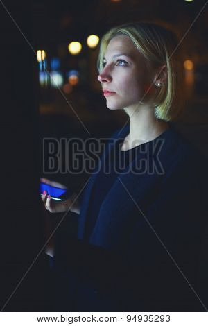 Portrait of gorgeous young woman realize internet money payment with automated teller machine