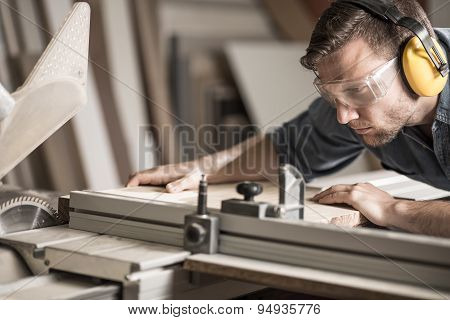 Young Man Doing Woodwork