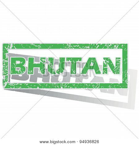 Green outlined Bhutan stamp