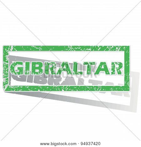 Green outlined Gibraltar stamp