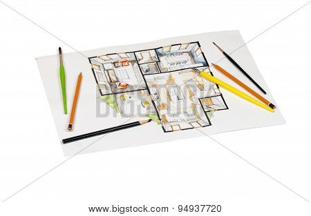 Bunch of writing tools shot on watercolor real estate house floor plan