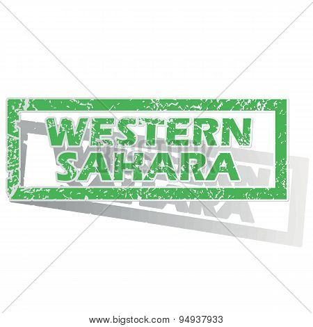 Green outlined Western Sahara stamp