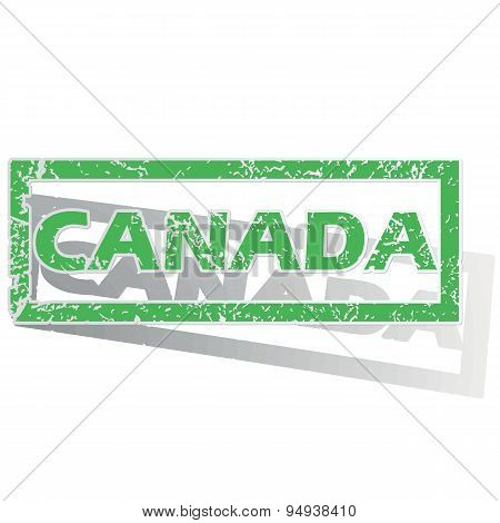 Green outlined Canada stamp