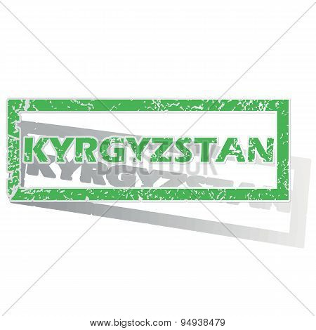 Green outlined Kyrgyzstan stamp