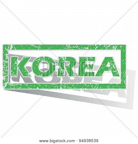 Green outlined Korea stamp