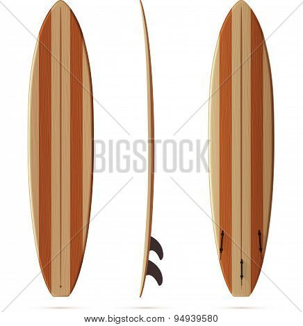 Wooden retro vector malibu surfing board