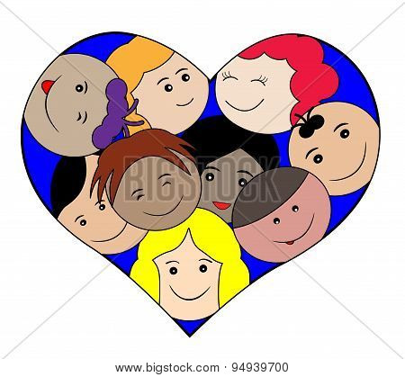Children faces in a heart-love concept