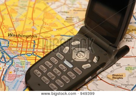 Cell Phone With Map Close Up