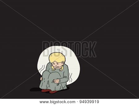 Scared Blond Girl Alone