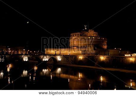 Mausoleum Of Hadrian, Moon And The Bridge In The Nighttime