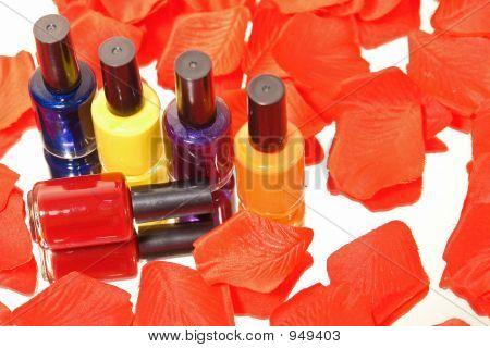 Nail Polish With Rose Peddles