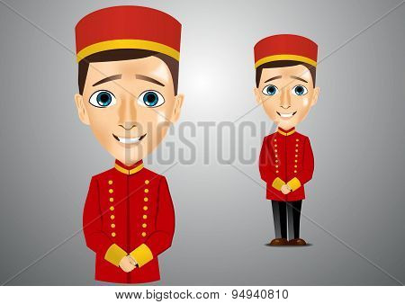 young cute bellboy waiting for the client