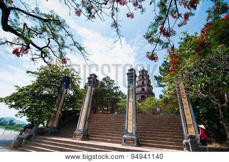 Thien Mu pagoda near Perfume river in Hue, Vietnam