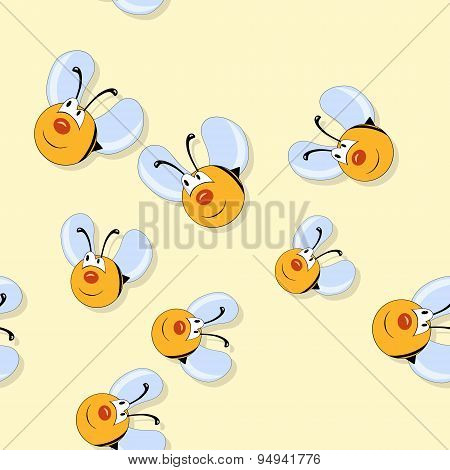 Happy Bees Seamless Pattern On Yellow Background