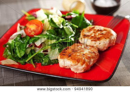 Chicken Meatballs With Salad