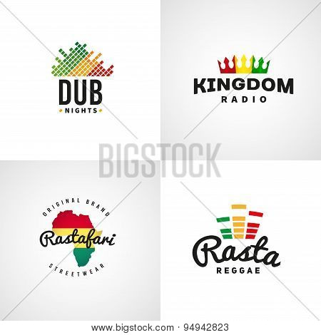 Set of african rastafari sound vector logo designs. Jamaica reggae music template. Colorful dub conc