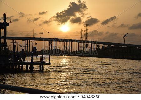Sunset over water in Kemah, Texas