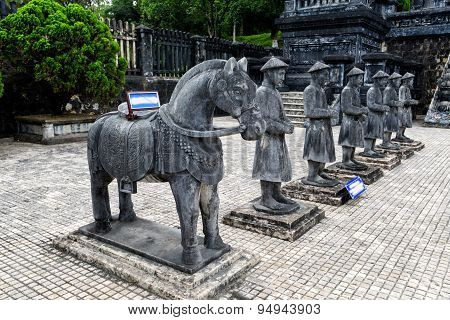 Stone statue in tomb of Khai Dinh emperor in Hue, Vietnam.