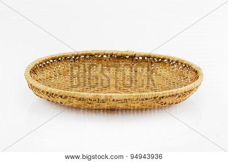 Bamboo Blank Basket On White Background