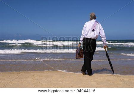 Businessman Retirement On A Tropical Beach