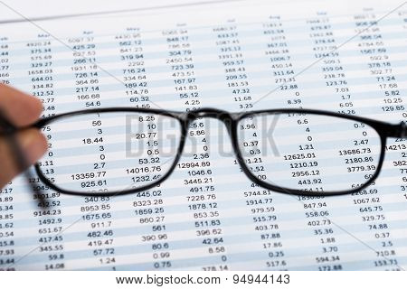 View Of Data Sheet From Eyeglasses