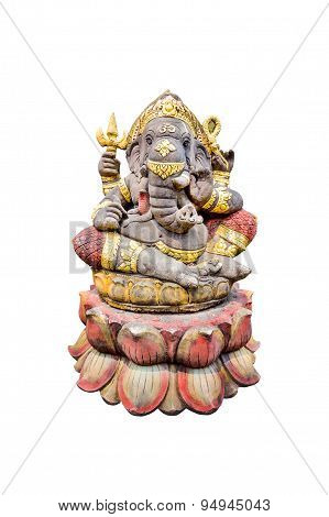 Idol Of Hindu God Ganesha  Isolate On White Background.