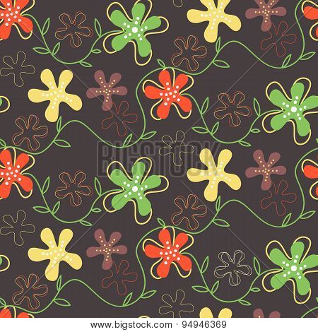 Seamless Pattern Of Hand Drawn Summer Flowers On A Dark Background.