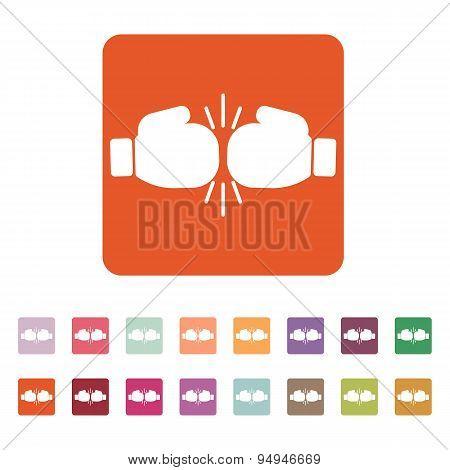 The Boxing Icon. Sport Symbol. Flat