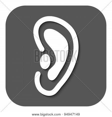 The Ear Icon. Listen Symbol. Flat