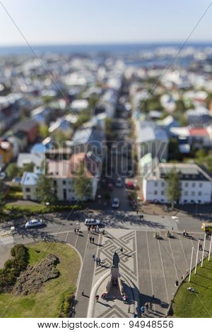 Aerial View Of Reykjavik, The Capital Of Iceland With Tilt Effect