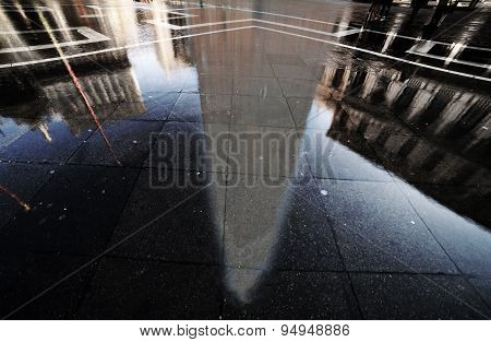 Reflection Of Bell Tower Of Sain Mark In Venice