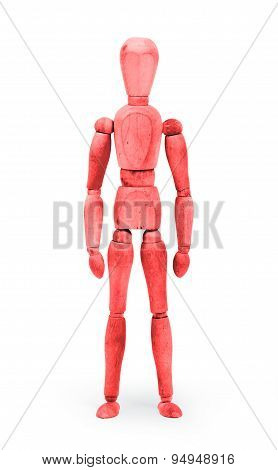 Wood Figure Mannequin With Bodypaint - Red