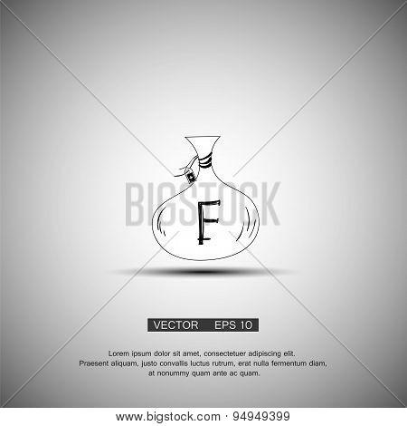 Bag with money. Franc symbol